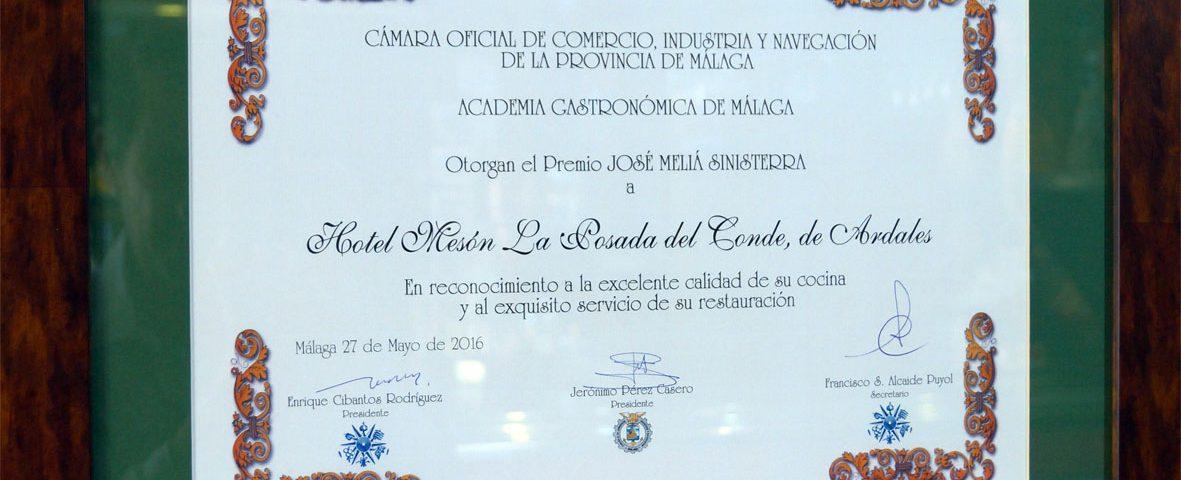 Reconocimiento Academia Gastronómica de Málaga